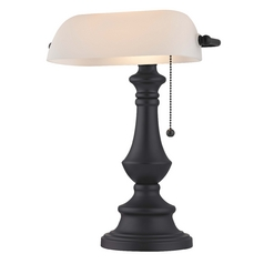 Traditional Bronze Bankers Lamp with Pull-Chain and White Opal Glass