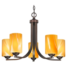 Modern Chandelier with Butterscotch Art Glass in Bronze Finish
