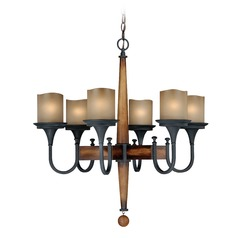 Meritage Charred Wood and Black Iron Chandelier by Vaxcel Lighting