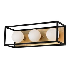Mid-Century Modern LED Vertical Bathroom Light Brass / Black Mitzi Aira by Hudson Valley