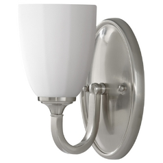 Modern Sconce Wall Light with White Glass in Brushed Steel Finish