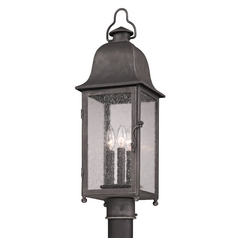 Post Light with Clear Glass in Aged Pewter Finish