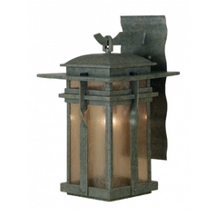 Modern Outdoor Wall Light with Amber Glass in Rust Finish