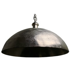 Large Rustic Pendant Light with Metal Bowl Shade