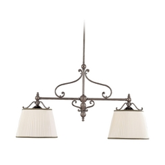 Drum Island Light with White Shades in Historic Nickel Finish