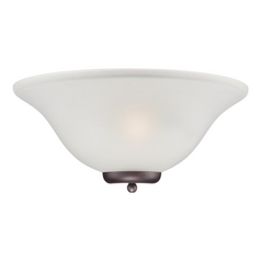 Sconce Wall Light with White Glass in Mohogany Bronze Finish