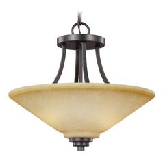 Sea Gull Lighting Parkfield Flemish Bronze Pendant Light with Coolie Shade