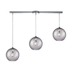 Watersphere Polished Chrome Multi-Light Pendant with Globe Shade
