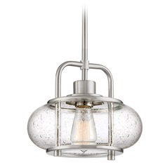 Edison Bulb Mini-Pendant Light Brushed Nickel 10-Inch by Quoizel Lighting