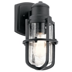 Seeded Glass Outdoor Wall Light Black Kichler Lighting