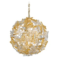 Corbett Lighting Milan Gold Leaf Pendant Light with Globe Shade