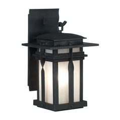 Modern Outdoor Wall Light with White Glass in Black Finish
