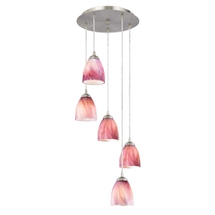 Pink Art Glass Multi-Light Pendant with Bell Shades and Five Lights