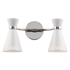 Mid-Century Modern Plug-In Wall Lamp Polished Nickel Jonathan Adler Havana by Robert Abbey
