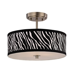 Zebra Print Ceiling Light with Drum Shade - 14 Inches Wide