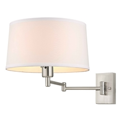 Swing-Arm Wall Lamp in Satin Nickel Finish and White Drum Shade