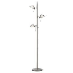 Satin Nickel Adjustable LED Tree Floor Lamp
