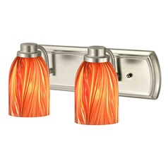 2-Light Vanity Light with Red Art Glass in Satin Nickel