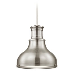 Farmhouse Mini-Pendant Satin Nickel 8.63-Inch Wide