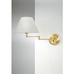 Holtkoetter Swing Arm Lamp with White Shade in Brushed Brass Finish