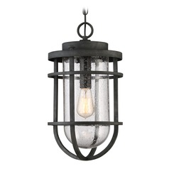 Seeded Glass Outdoor Hanging Light Black Quoizel Lighting