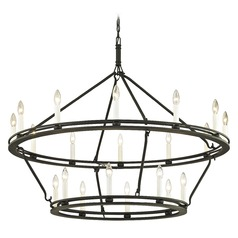 Troy Lighting Sutton Textured Black with White Chandelier