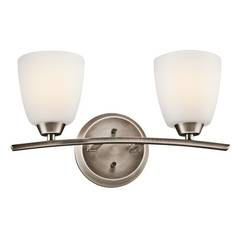 Kichler Bathroom Light with White Glass in Brushed Pewter Finish