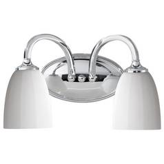 Home Solutions by Feiss Lighting Modern Bathroom Light with White Glass in Brushed Steel Finish VS17402-CH