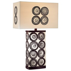 Minka Lavery Black & White Table Lamp with Rectangle Shade