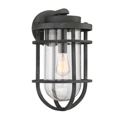 Seeded Glass Outdoor Wall Light Black Quoizel Lighting