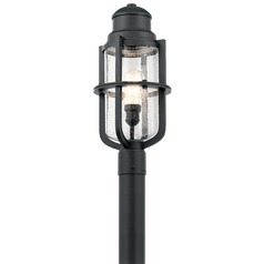 Seeded Glass Post Light Black Kichler Lighting