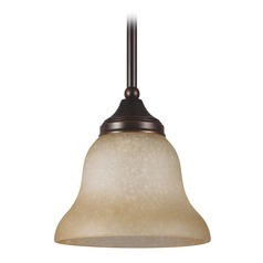 Sea Gull Lighting Brockton Burnt Sienna LED Mini-Pendant Light with Bell Shade
