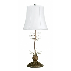 Table Lamp with White Shade in Antique Bronze Finish