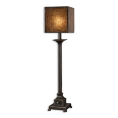 Console & Buffet Lamp with Brown Glass in Rustic Bronze Finish