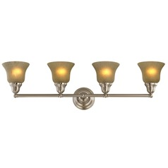 Four-Light Sconce with Amber Glass
