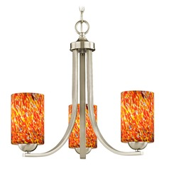 Design Classics Dalton Fuse Satin Nickel 3 Light Mini-Chandelier with Circus Glass Shade