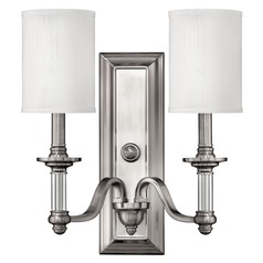 Sconce Wall Light with Beige / Cream Shades in Brushed Nickel Finish