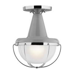 Feiss Lighting Livingston High Gloss Gray / Polished Nickel Close To Ceiling Light