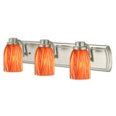 3-Light Vanity Light with Red Art Glass in Satin Nickel