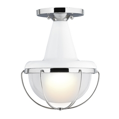 Feiss Lighting Livingston High Gloss White / Polished Nickel Close To Ceiling Light
