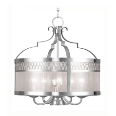 Livex Lighting Westfield Brushed Nickel Pendant Light with Drum Shade