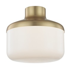 Industrial Flushmount Light Brass Mitzi Livvy by Hudson Valley