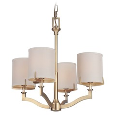 Craftmade Vintage Brass 4-Light Chandelier with Ecru Linen Shades