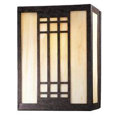 Minka Lighting Modern Sconce Wall Light with White Glass in Iron Oxide Finish 362-357