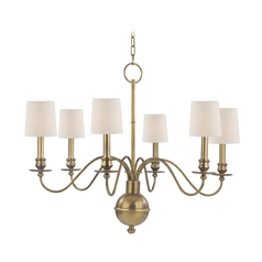 Chandelier with White Paper Shades in Aged Brass Finish