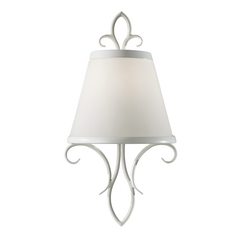 Sconce Wall Light with White Glass in Semi Gloss White Finish