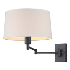 Bronze Swing Arm Wall Lamp With Cream Drum Shade