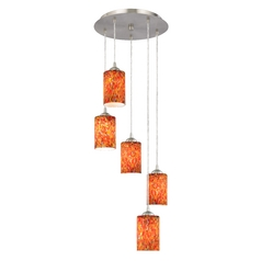 Design Classics Lighting Art Glass Multi-Light Pendant with Cylinder Shades and Five Lights 580-09 GL1012C