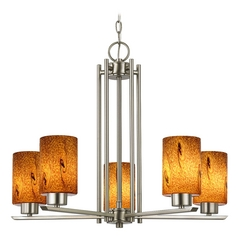Chandelier with Brown Art Glass in Satin Nickel - 5-Lights
