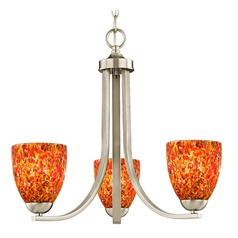Satin Nickel 3 Light Mini-Chandelier with Circus Glass Shade
